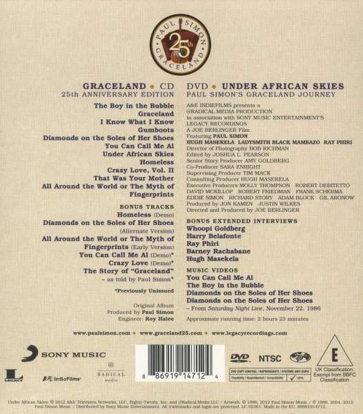 Paul Simon Graceland 25th Anniversary Edition CD  DVD