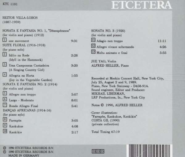 Violin sonatas (back cover)
