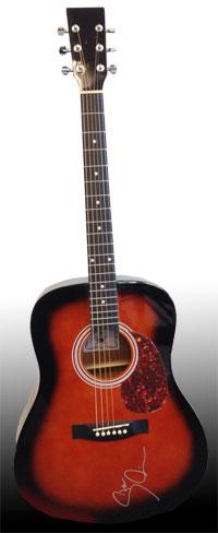 Gitarre mit einer Signatur von Steven Wilson auf dem Korpus