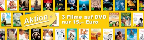 3 Filme auf DVD für 15,– Euro