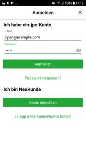 Die Anmeldung in der jpc-App