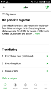 Ausschnitt einer Produktseite mit Infotexten und Tracklisting